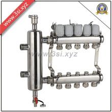 5 Wege Exhuast Fußbodenheizung Wasserabscheider mit Manometer (YZF-L082)