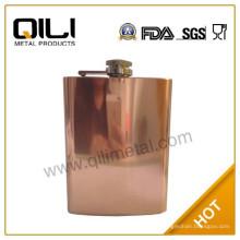 8 onzas de alta calidad acero inoxidable cobre galjanoplastia del frasco de la cadera