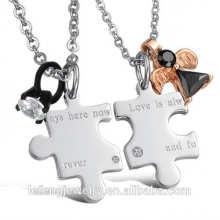 Heißer Verkauf Schmuck modische Stil Liebe immer hier Edelstahl Puzzle Halskette
