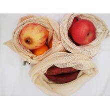 bolsa de malha de algodão com cordão para compras