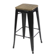Wholesale cheap furniture black commercial industrial iron bar stool top with wood board bar chair