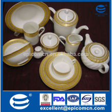 high quality super white gold decal tableware turkish fine porcelain dinner set