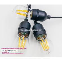 Éclairage de chaîne SL-18 E26 E 27 S 14 avec cordon d'alimentation certifié UL et prise AMPOULE LED