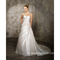 A-line Sweetheart Cathedral Train Satin Criss-Cross Beading Wedding Dress
