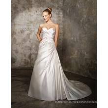 Corte en A Cariño Tren de la catedral Satén Entrecruzado Vestido de novia con abalorios