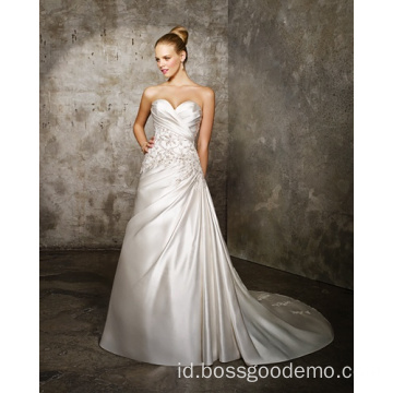 Gaun Pengantin A-line Sweetheart Cathedral Train Satin Criss-Cross Beading