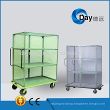HM-9 steel net laundry baskets with wheels with door and without door type