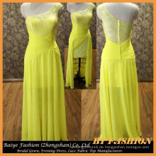 Chiffon- Gelbes Abendkleid-Spitze-Gewebe-Abschlussball-Schatz-Kleid-späteste Art-Dame-Kleid BYE-14103