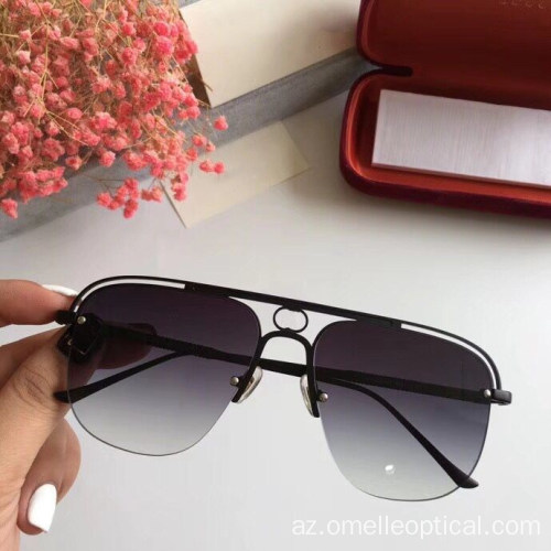 Unisex Square Semi Rimless Sun Glasses Topdan
