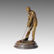 Estatua Deportiva Competidor Golf Escultura De Bronce, Milo TPE-222