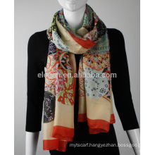 In Stock Mixed Color Silk Feel Polyester Printed Scarf