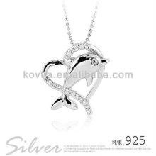 Bonito golfinho 925 pingentes de prata esterlina para meninas