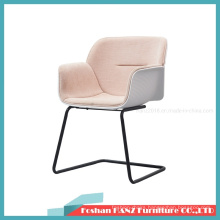Andreu World Plastic Fabric Cushion Nuez Chair with Metal Cantilever Leg