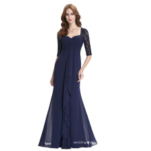 Kate Kasin Full-Length Half Sleeve Chiffon Navy blue evening Dress 8 Size US 2~16 KK000136-1