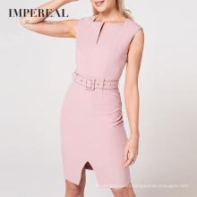 Knee Length Sleeveless High Square Neckline Part Form Women Blazer Dresses
