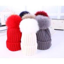 Оптовая шерсть POM POM шерсти трикотажные зимние шапочка Cap Hat