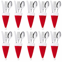 10PC Tableware Holder bag Christmas hat Christmas 2020 Christmas Decorations home decoration accessories Kitchen Tableware Holde
