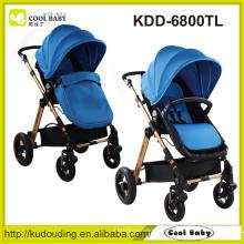 China Carrinho de bebê fabricante Rodas giratórias reversíveis do assento com suspensão Amortecedor removível Grande cesta de armazenamento