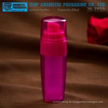 ZB-TP30 30ml dupla camadas garrafas de bomba airless SAN/AS do atarraxamento cor personalizável encaixe plástico bomba