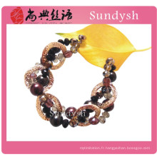 Vintage unique dernier gros wrap cristal lourd gros multi main tressé fantaisie chunky en vrac bijoux chaîne bracelet pour les filles