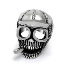 Очки попки кольцо череп с шляпой на голове из нержавеющей стали