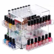 Makeup Organizer Storage Box Clear Rotating Acrylic Nail Polish Rack Display