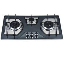 Fogão a gás de alta qualidade de 3 queimadores / fogão a gás de vidro temperado