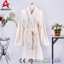 Manufacturers supply short style beige solid coral fleece women plush bathrobe