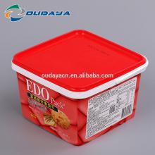 Recipiente de empacotamento de alimento de iml de caixa quadrada portátil de plástico