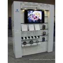 Custom Bodenbelag in Tür Einzelhandel Displays Computer Lautsprecher Fitting Holz Auto Lautsprecher Display Unit