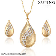 62641-Xuping New Fashion Water Drop Shape African Gold Jewelry Sets