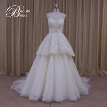 Реальные примеры Винтаж створки бантом Тюль Свадебные платья