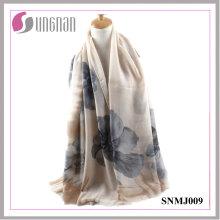 2016 alta qualidade Noble Begonia impressão lenço de algodão de cetim