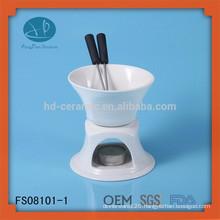 White Ceramic Chocolate Fondue With Logo and Cheese Tools Type cheese grater,ceramic fondue