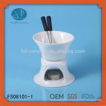 Белое керамическое шоколадное фондю с логотипом и сыром Инструменты Тип сырая терка, керамическое фондю