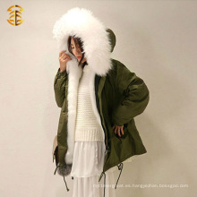 Blanco de nieve Forro de piel de Fox Real por mayor más reciente abrigo suave