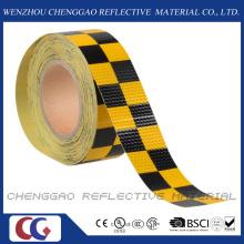Fita de advertência de segurança refletivo PVC amarelo e preto Chequer (C3500-G)