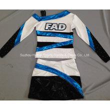 Metallic Shiny Cheerleading Uniform mit Strasssteinen