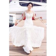 Long Sleeve Lace Mermaid Bridal Gown Wedding Dresses (TJBLCT022)