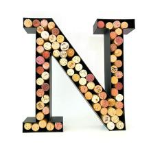 Home decor monogram letter shape metal black wine cork holder racks for sale