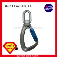 A304DKTL 25kN Indicador de carga giratório de alumínio Snap Twist Lock Hook Carabiner