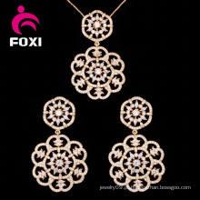 Conjunto de moda 18k encantador brinco de ouro e conjunto de jóias pingente