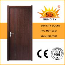 Puertas de madera exóticas al por mayor del PVC del precio más barato (SC-P188)