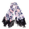 Fashion ladies floral print polyester fringe scarf