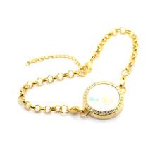 2015 Antique design lovely gold floating pendant bracelet,crystal 316l glass photo chain bracelets