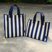 New Design Durable Strong Standard Size Stripe Canvas Bags Tote Shopping Bag