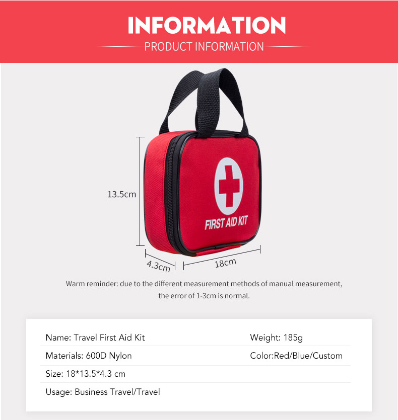 China Custom Logo UK Business Travel First Aid Kit Multifunctional Medical First Aid Bags