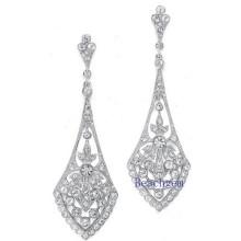 Brincos de prata esterlina joias-sintético diamante