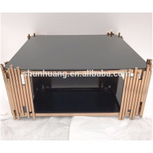 Round stainless steel coffee table living room furniture polished frame