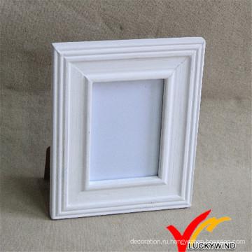 Деревянная рамка для фотографий Белая с подставкой